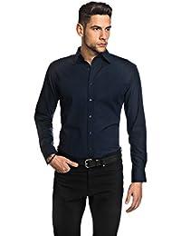 Embraer Herren-Hemd Slim-Fit tailliert bügelfrei 100% Baumwolle Uni-Farben  - Männer lang-arm Hemden für Anzug mit Krawatte Business… d786f8a819