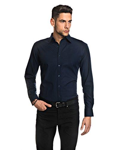 Embraer camicia, taglio aderente, in tinta unita - non-stiro blu scuro 41/42