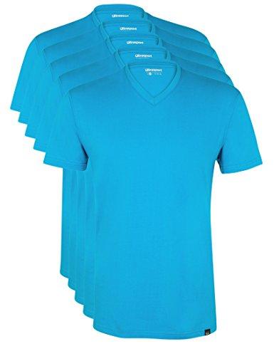 Ultrasport Herren Sport Freizeit T-Shirt mit V-Ausschnitt 5er Set, Blau, S