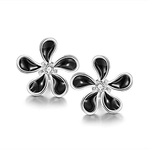 AMDXD Jewelry White Gold Plated Women's Earrings Flower Black Oil