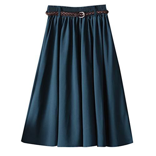 Makefortune-TOPS Heiß!! Damen Elastic High Waisted A Line Falten Midirock Einfarbig Lange Röcke Swing Kleid mit Gürtel Schwarz Grau Gelb Grün Blau Khaki Navy