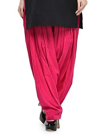 Stylenmart Women's Cotton Semi Patiala Salwar (STMASEPA078625_Pink_Free Size)