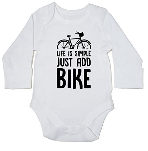hippowarehouse-la-vida-es-simple-solo-anadir-bicicleta-body-para-bebe-manga-larga-ninos-ninas-blanco