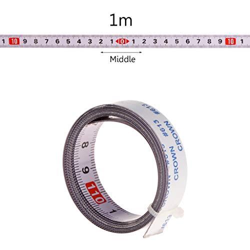 Cuigu Scale Maßband Gehrungssäge Maßband 1M / 2M / 3M / 5M Rollenband Selbstklebendes Maßband Rückenlehne Metrisch Stahl Gehrungsband Scharnierband (1M, Mitte)