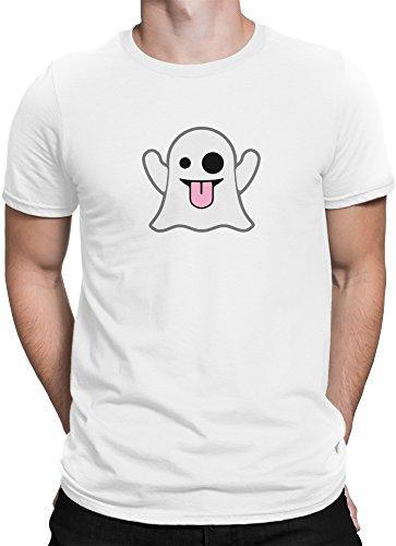 Geister Smiley mit Zunge raus Emoticon Emoji / Premium Fun Motiv T-Shirt XS-5XL mit Aufdruck / Ideales Geschenk, Size:5XL, (Kostüme Smile Emoticon)