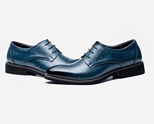 GRRONG Chaussures En Cuir Pour Hommes En Cuir Véritable Robe Formelle Daffaires Noir Brun Jaune Bleu blue