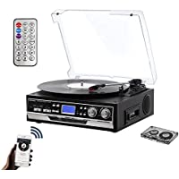 Bluetooth Record Player for Vinyl with 2 Built in Speakers, Turntable with PLL AM FM Radio, Digital LCD Display, USB SD Recorder, Cassette Play, Headphone Jack, Remote control