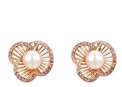 Ciondolo da donna placcato oro 18kt a forma di perla orecchini, 18ct rosa oro, cod. 2030469400b