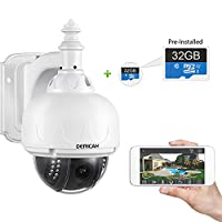 Dericam Outdoor WiFi IP Security Camera, PTZ Camera, 4x Optical Zoom, Auto-focus, 1.3 Megapixel, Pre-installed 32GB Memory Card, S1-32G White