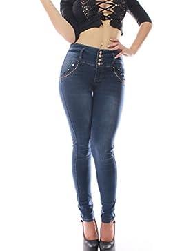 FARINA®1356 Pantalon vaquero de mujer, Push up/Levanta cola, pantalones elasticos colombian,color azul oscuro,...