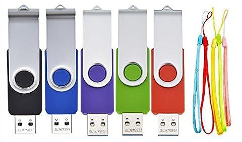FEBNISCTE 5 Pièce Clé USB 4 Go Mémoire Flash Rotation Disque USB 2.0 (Couleur Mixte: Rouge Vert Noir Bleu et Violet)