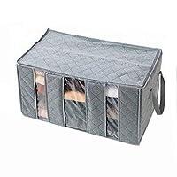 65l طوي الخيزران الفحم الألياف المنزلية خزانة تخزين حقيبة منظم مربع سترة بطانية مضادة للبكتيريا الملابس (رمادي)