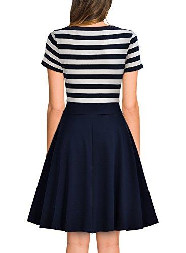 MIUSOL Damen Sommer Vintage Streifen Rundhals Retro Schwingen Pinup Rockabilly 1950er Kleid Navy Blau Gr.M -