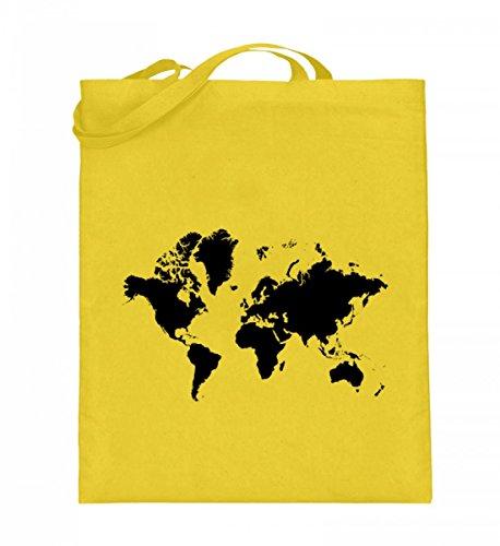 Hochwertiger Jutebeutel (mit langen Henkeln) - Jutebeutel Weltkarte Gelb