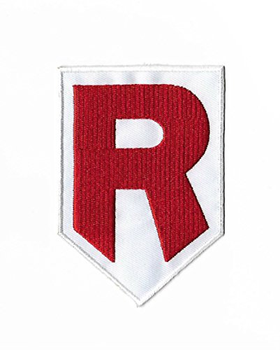 Team Rocket R Logo Pokemon Patch Embroidered Iron on Badge Aufnäher Kostüm Fancy Kleid Pokémon Cosplay (Team Rocket Meowth Kostüm)