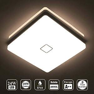 Öuesen 24W Wasserdichte LED Lampe Decke Moderne dünne quadratische LED Deckenleuchte 2050lm Natürliches Weiß 4000K LED Deckenlampe Badezimmer Schlafzimmer Küche Wohnzimmer Korridor Balkon Flur Bad