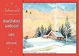 Transparent-Windlicht 'Schneewald': Windlicht aus Transparentpapier, Weihnachtskarte und Umschlag