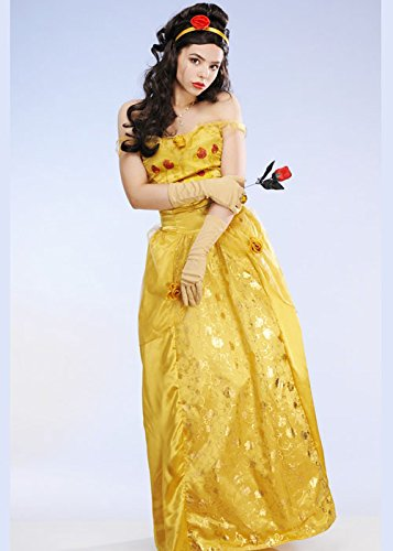 Preisvergleich Produktbild Magic Box Int. Damen lange goldene Prinzessin Belle Style Kostüm Large (UK 16-18)