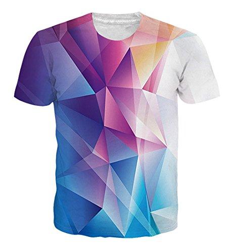 Goodstoworld T Shirt 3D Bunt Geometrisch Druck Herren Damen Printed Sommer Lustig Beiläufige Kurzarm Cooles T-Shirts Tee Top M