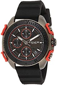 Coach Mens Quartz Wrist Watch, Black Silicone- 14602453