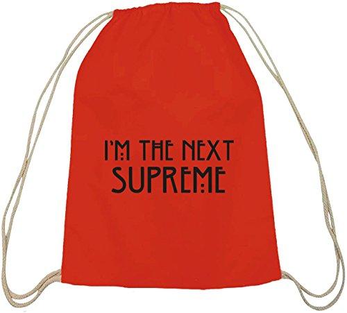 Shirtstreet24, AHS - I'm The Next Supreme, Baumwoll natur Turnbeutel Rucksack Sport Beutel Rot Natur
