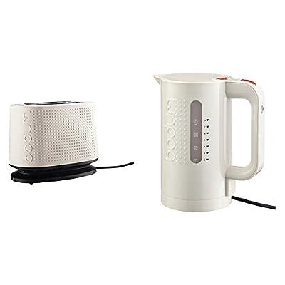 Bodum 10709-913-3 Bistro Grille-Pain Électrique Plastique Blanc 26,5 x 15,5 x 21,5 cm + Bouilloire électrique 1,0 L blanc