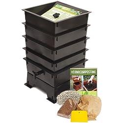 Nature's Footprint Wurm Factory 4Fach Mailbox ML Wurm Kompost 4 Tray schwarz