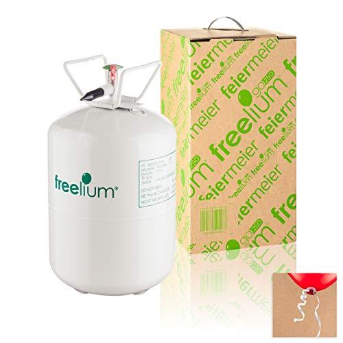 Freelium® 250GO - Helium / Ballongas to Go Flasche mit 0,25 m³ / 250 Liter + inklussive 30x Ballonband für max. 30 Ballons - für Hochzeit Liebe Kindergeburtstag Firmenjubiläum