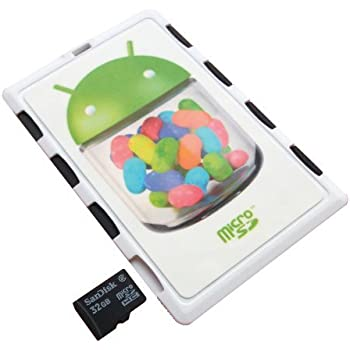 DiMeCard micro8 microSD Memory Card Holder WHITE ANDROID JELLY BEAN Edition (Ultra thin credit card size holder, writable label)