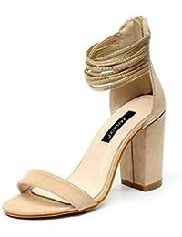 SHINIK Mujeres Open-Toe Bombas Summer Suede Belt Combinación áspera de tacón alto romano Sandalias Corte zapatos albaricoque Negro , apricot , 39