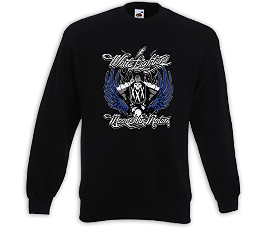 Biker Pullover White Lightning Chopper Bike Kustom US V-Twin V8 Skull Schwarz