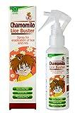 Pulvérisateur avec huile de camomille pour l'éradication et le traitement des poux de tête et des lentes.
