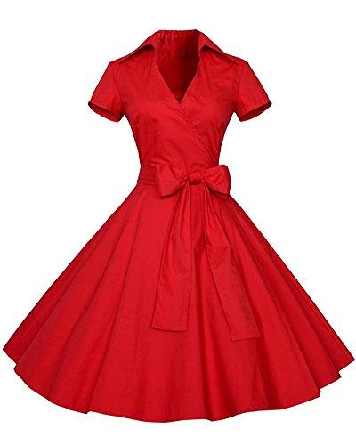 YiLianDa Rétro Vintage Années 50 's Style Audrey Hepburn Rockabilly Swing Robe de Bal à Manches Courtes Rouge M