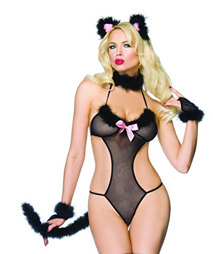 Leg Avenue - Frisky Kitty 5-teilig - One Size - Schwarz - - Frisky Kitty Kostüm