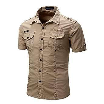 T1992S Men's Button up Hiking Quick Dry UV Protection Khaki Short Sleeve Shirt S