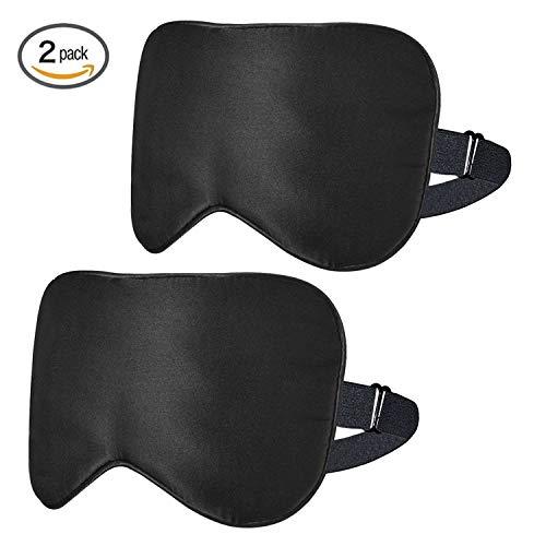 ykooe Seide Schlafmasken Damen Sleep Masks Blackout Augenmaske Augenbinde mit Verstellbarem Gummiband für Frauen und Herren Weihnachtsgeschenk und Karneval Kostüme 2er Set - Schwarz