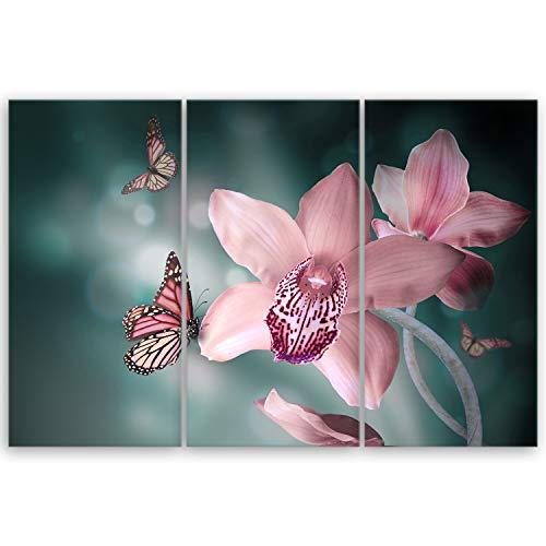 ge Bildet® hochwertiges Leinwandbild Pflanzen Bilder - Orchideen mit Schmetterlingen - Natur Blumen - 90 x 60 cm mehrteilig (3 teilig) 2207 K