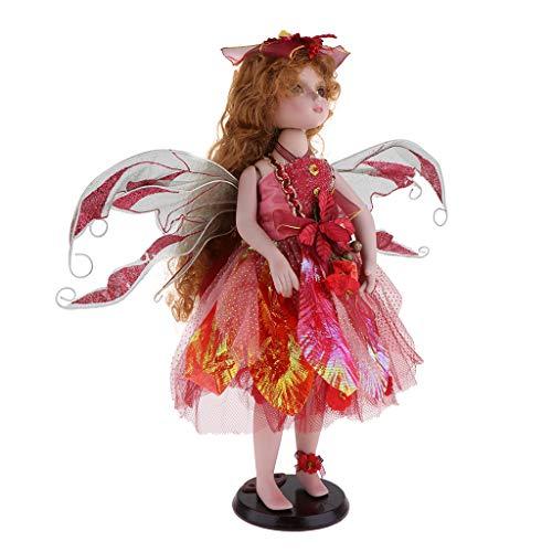 Baoblaze 40cm Schöne Viktorianische Porzellan Mädchen Puppe Engel Figur Modell mit Kleid Sammlerstück - Rot