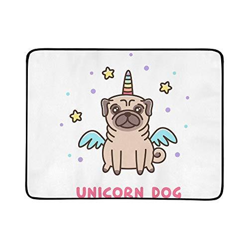 WYYWCY Netter Hund Mops Breed Unicorn Kostüm Muster tragbare und Faltbare Decke Matte 60x78 Zoll handliche Matte für Camping Picknick Strand Indoor Outdoor Reise