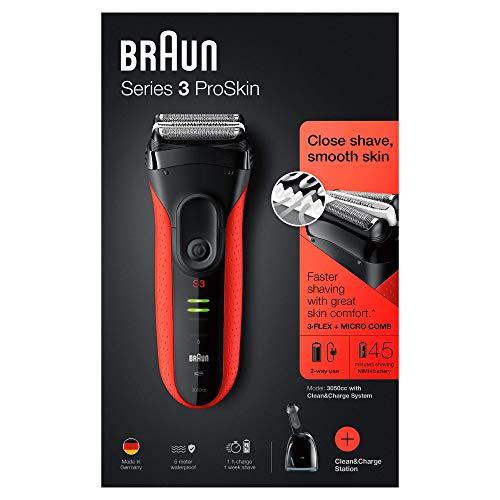 Braun Series 3 ProSkin 3050cc Elektrorasierer mit Reinigungs- und Ladestation, Präzisionstrimmer, wiederaufladbarer Rasierer Herren, schwarz/rot