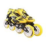 XZ15 Pattini a rotelle, Pattinaggio di velocità Scarpe Professionali, Pattini dei Bambini for Adulti, Pattini in Linea, Scarpe Ruota di Corsa (Color : Yellow, Size : 43)