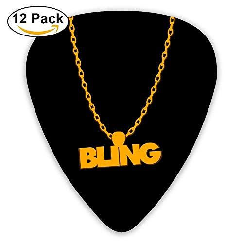 Celluloid Guitar Picks Mandolin Guitar Plectrums,Print Bling Gold Kette,12 Pack -