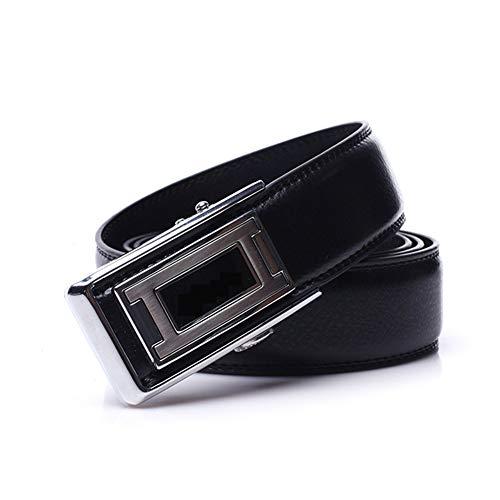 Zwl cinturino in pelle regolabile casual singolo anello impermeabile automatico fibbia per adulti,black