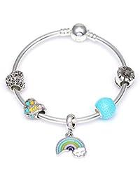 28611e5ff4a2 GSYDSZ Color de Plata Arco Iris de Amor Colgante Pulsera de Marca Azul  Cuentas de Cristal