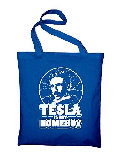 Nikola Tesla È Il Mio Amico Di Casa Jutebeutel Royalblau