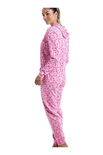 Schlafanzug-Einteiler mit Kapuze - Baumwolle - Sternchenmuster - Rosa Pink