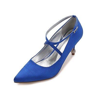 Wuyulunbi @ Chaussures Femme Spring Summer Satin & Base De Pompe À Deux Pièces Comfort Chaussures De Mariage Sparkling Pointe De Strass Glitter Laces Blue