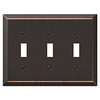 Amerelle 163TTTDB Traditional Steel Wallplate with 3 Toggle, Aged Bronze