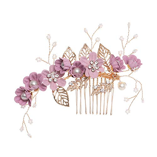 Luxus-Haarnadel Blauer Blume Haarkämme Kopfschmuck Prom Braut Hochzeit Haarschmuck Goldblätter Haarschmuck (lila)