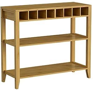 SoBuy FSB14-N Design Sideboard mit Weinregal und 3 Ablagen Küchenschrank Konsolentisch Flurschrank aus Bambus BHT ca…